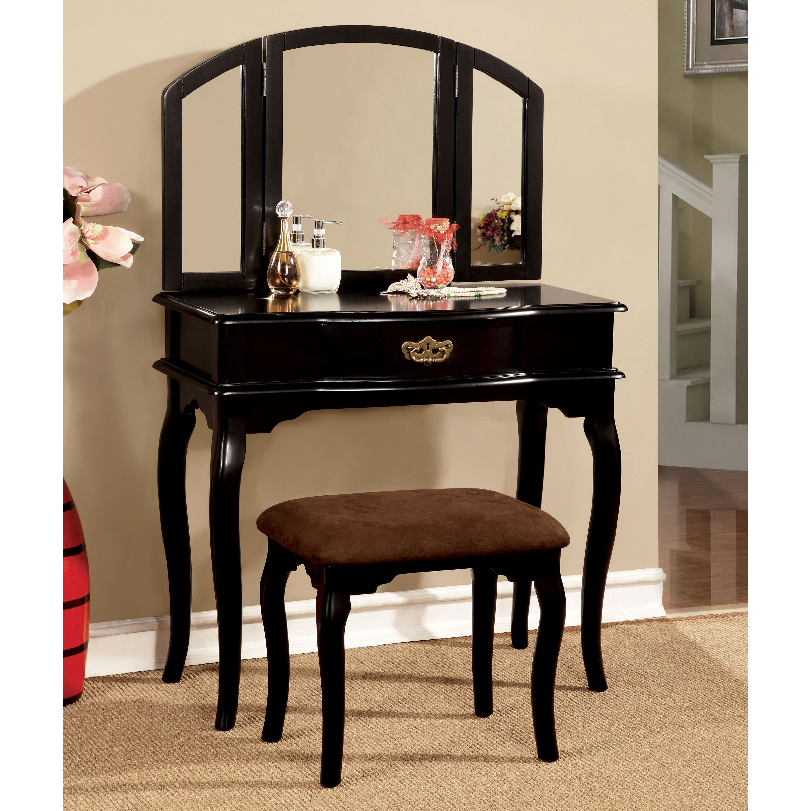 Best Rosalie Traditional Black Vanity Set With Stool Bedroom With Pictures