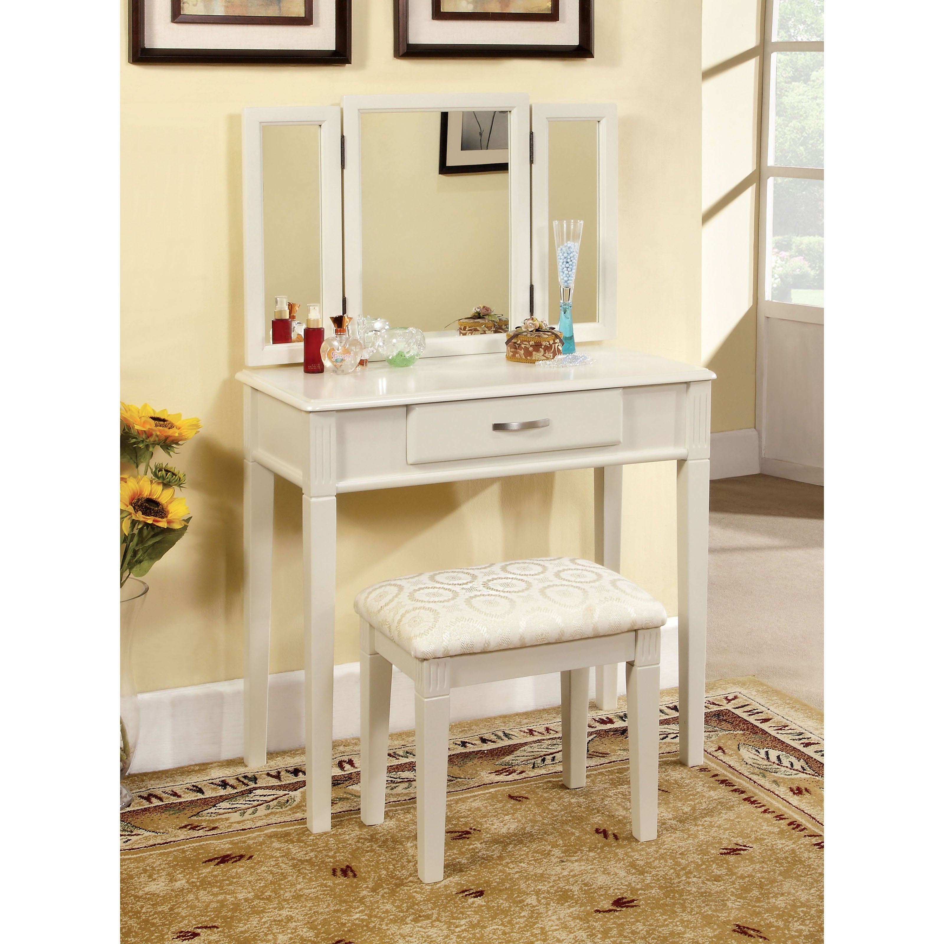 Best Furniture Of America Thompson Bedroom Vanity Set White With Pictures