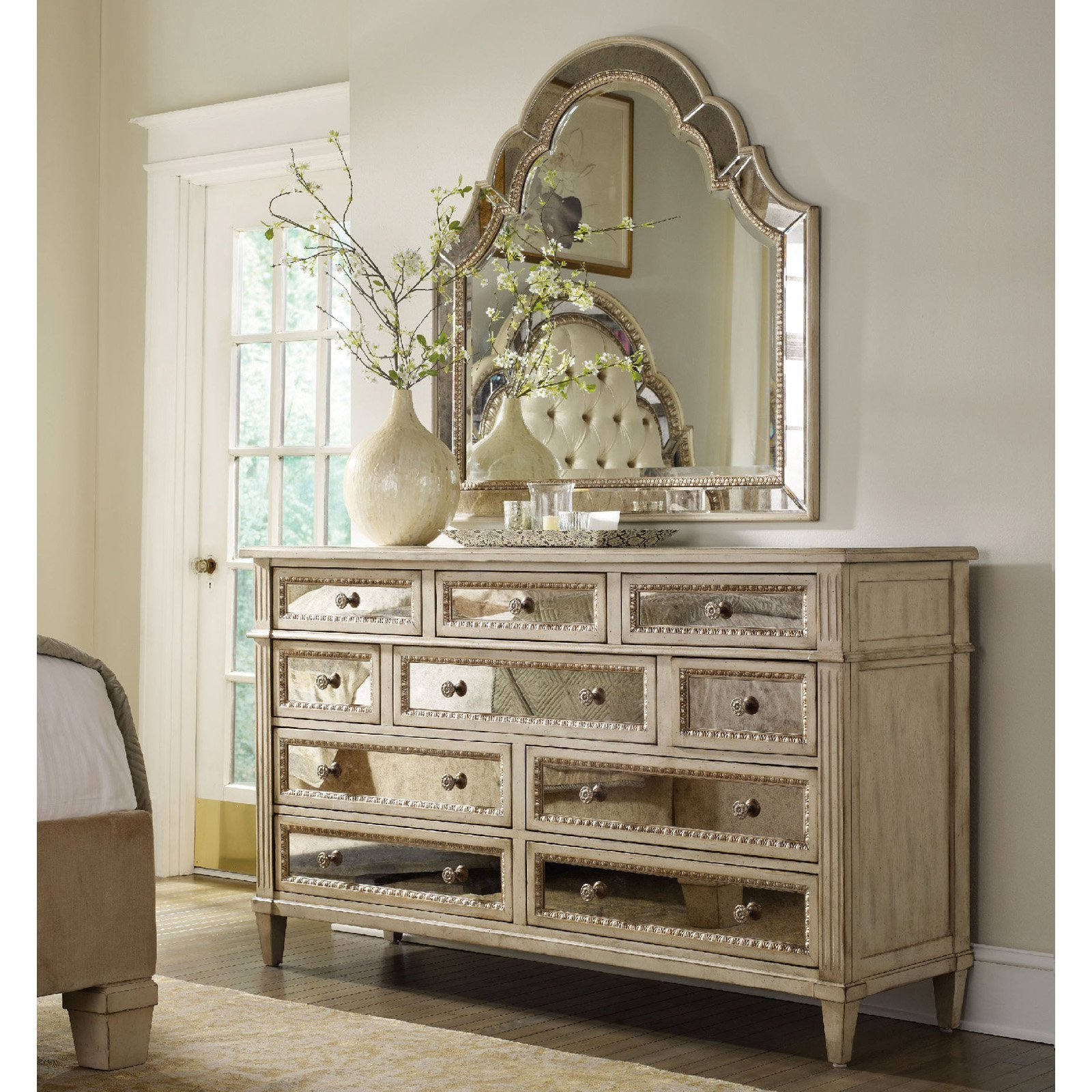 Best H**K*R Furniture Sanctuary 10 Drawer Mirrored Dresser With Pictures