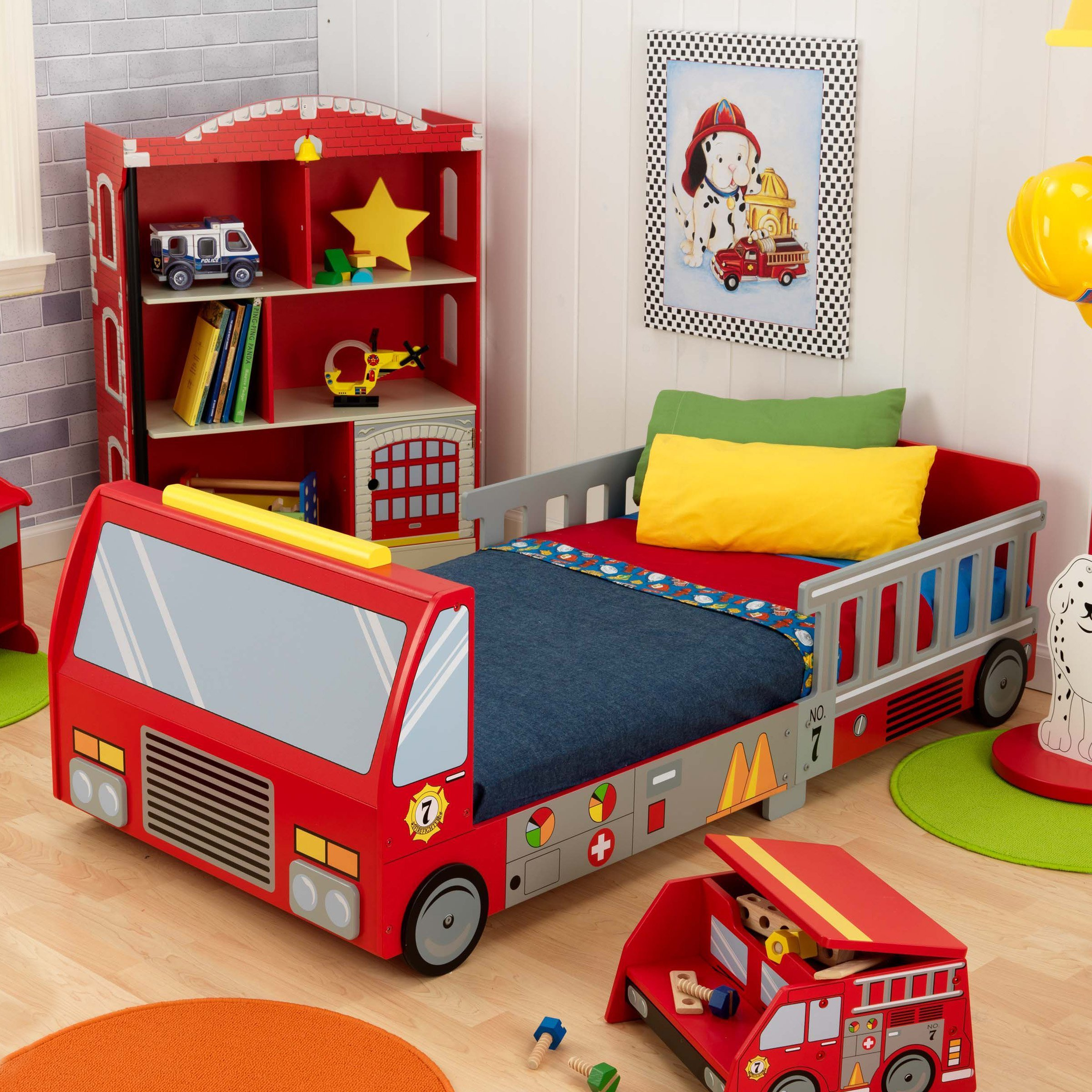Best Kidkraft Fire Truck Toddler Bed 76021 Toddler Beds At With Pictures
