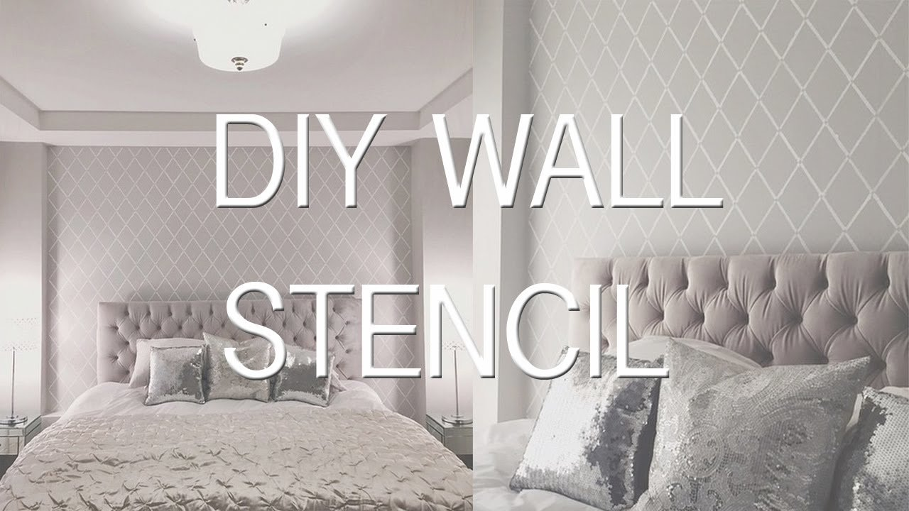 Best Bedroom Update Stencil Wall Diy Wallpaper Effect Youtube With Pictures