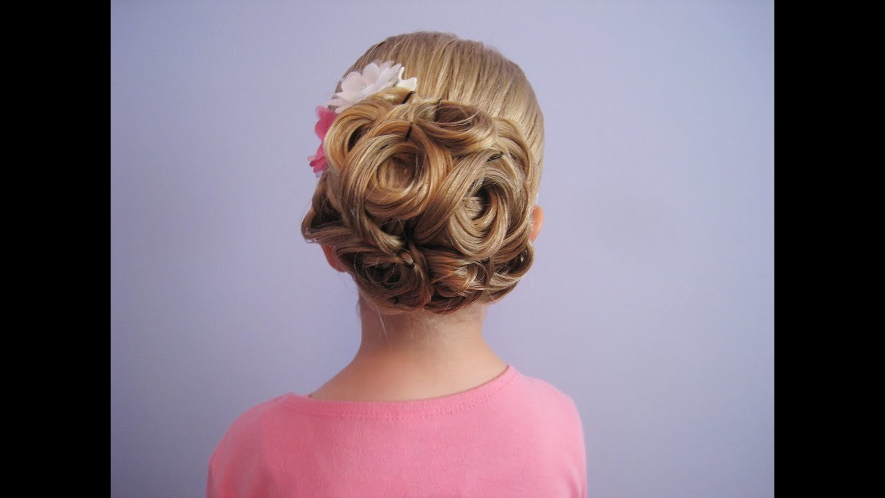 Free Easy Looped Updo Bridal Prom Flower Girl Hairstyle Wallpaper