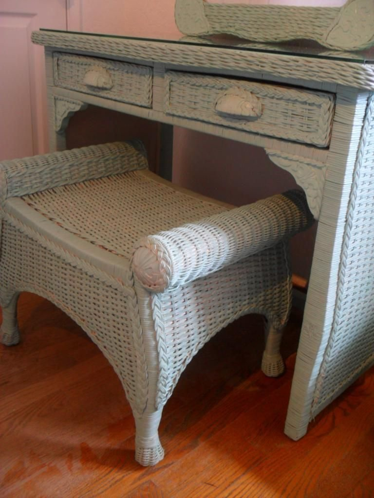 Best Pier 1 One Jamaica Collection Shabby Wicker Vanity Desk Set W Mirror Robin Egg Ebay With Pictures