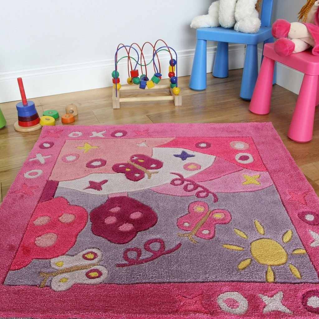 Best New Soft Small 90X90Cm Pink Summertime Bedroom Rug Girls Fun Baby Playroom Mat With Pictures