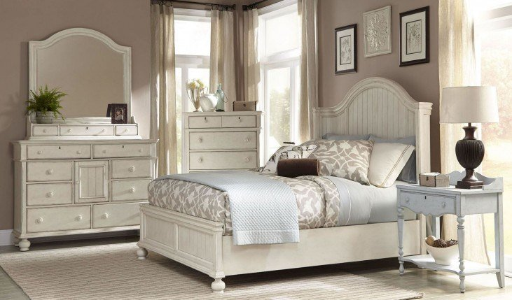 Best Newport Antique White Panel Bedroom Set From American With Pictures