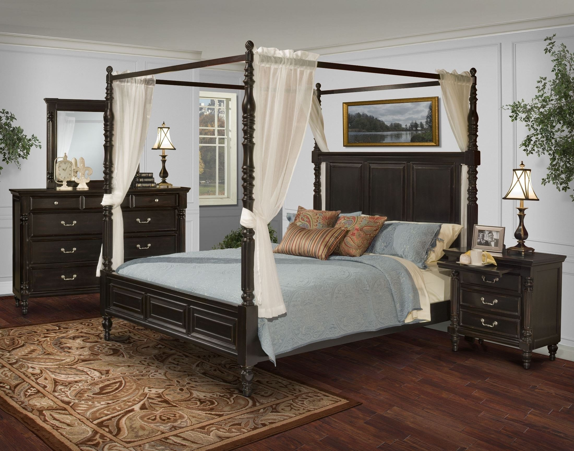 Best Martinique Rubbed Black Canopy Bedroom Set With Drapes With Pictures
