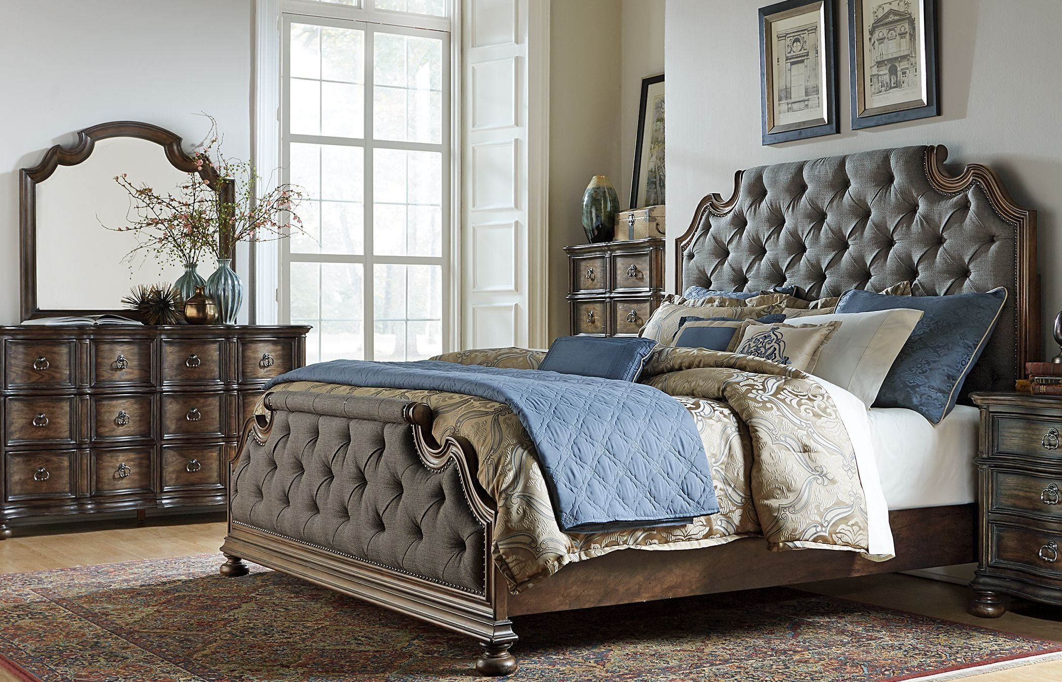 Best Tuscan Valley Weathered Oak Upholstered Panel Bedroom Set With Pictures