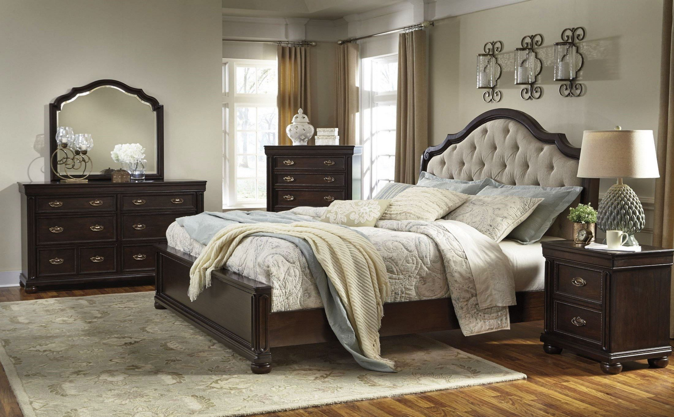 Best Moluxy Dark Brown Upholstered Sleigh Bedroom Set B596 54 With Pictures