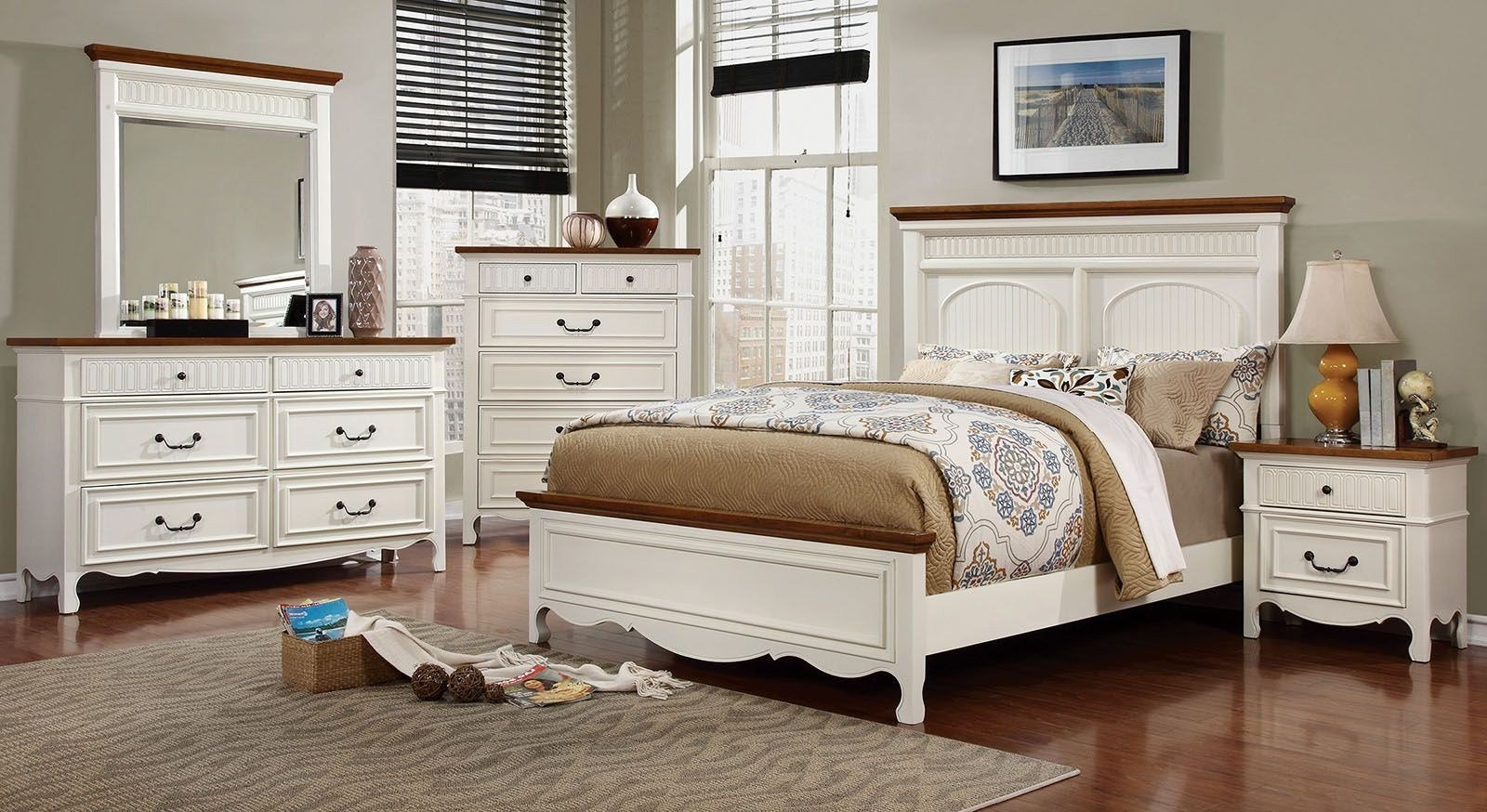 Best Galesburg White And Oak Bedroom Set Cm7040Q Furniture Of With Pictures