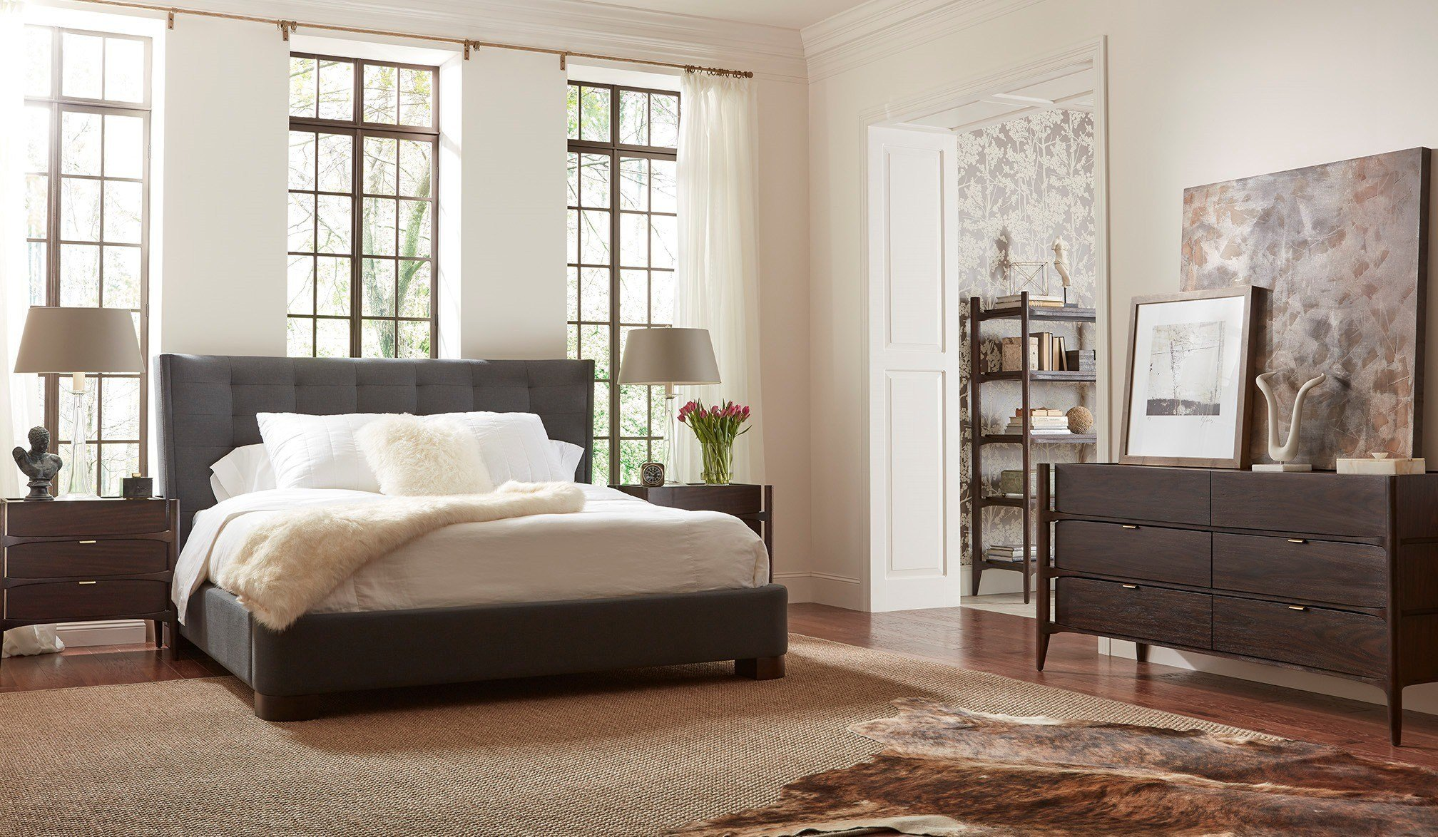 Best Emerson Rosewood Upholstered Bedroom Set Em005 Brownstone With Pictures