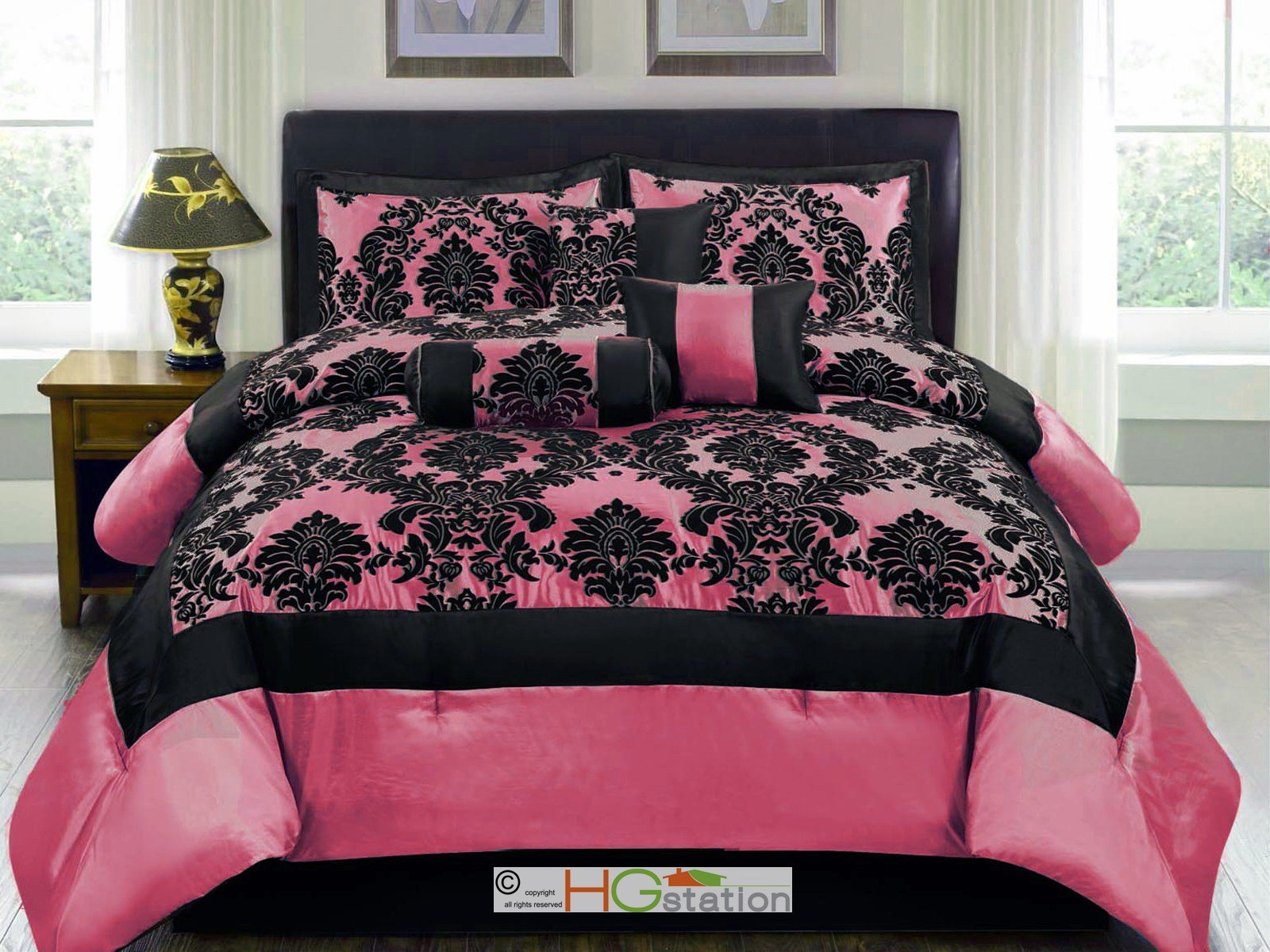 Best 7 Pc Silky Satin Flocking Damask Floral Square Comforter With Pictures
