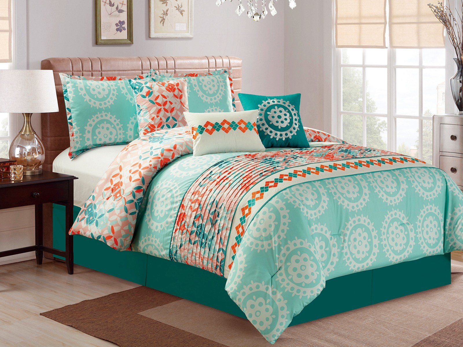 Best 11P Helm Diamond Leaf Pleated Comforter Curtain Set Green Teal Orange White King Ebay With Pictures