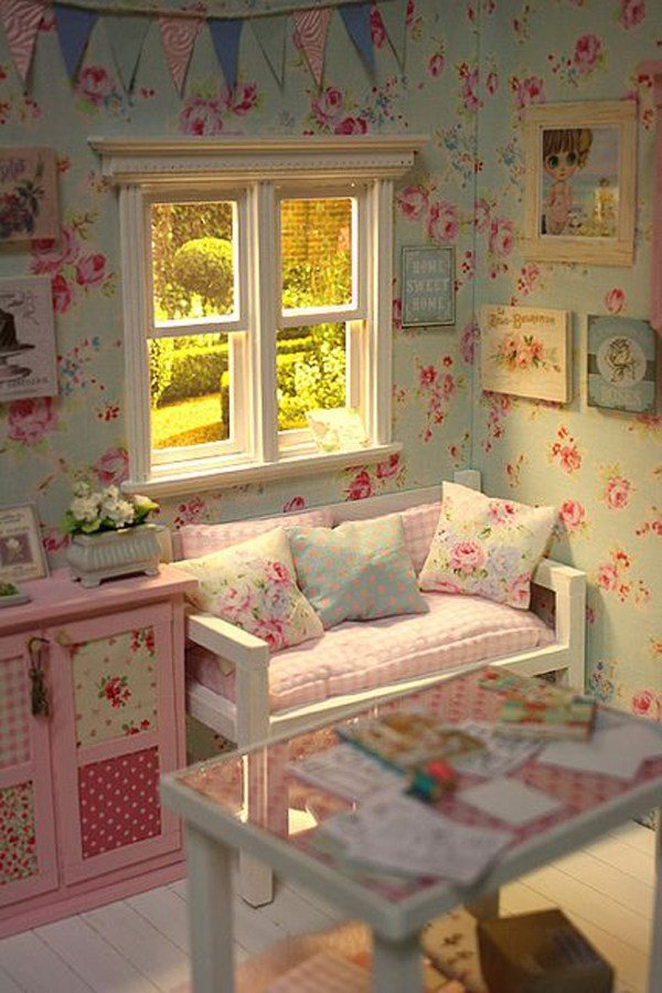 Best Shabby Chic Little Girl Bedroom With Flower Wallpaper With Pictures