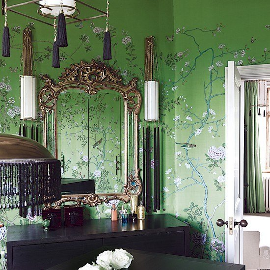 Best Oriental Style Bedroom With V*V*D Green Wallpaper With Pictures