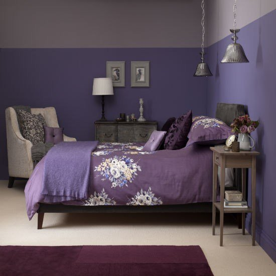 Best Dusky Plum Bedroom With Floral Bed Linen Bedroom Colour With Pictures