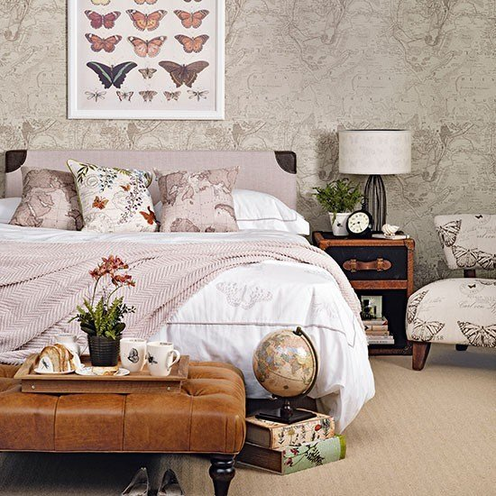 Best Soft Pink And Taupe Bedroom With Map Wallpaper Bedroom Decorating Housetohome Co Uk With Pictures