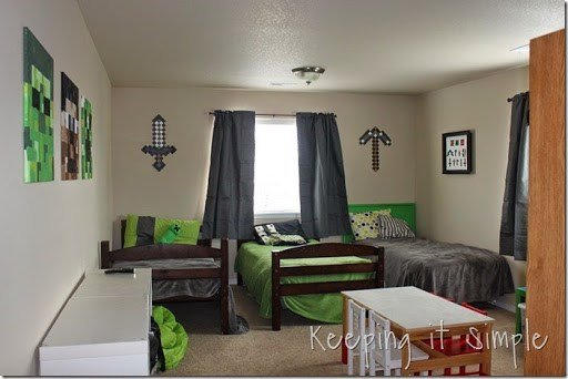 Best Keeping It Simple Minecraft Boy's Room Décor Idea Large Wood Minecraft Characters With Pictures
