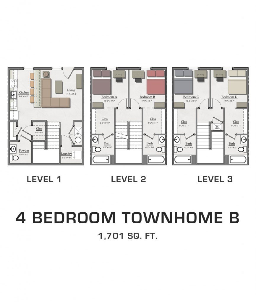 Best 4 Bedroom Townhome B Hannah Lofts And Townhomes With Pictures