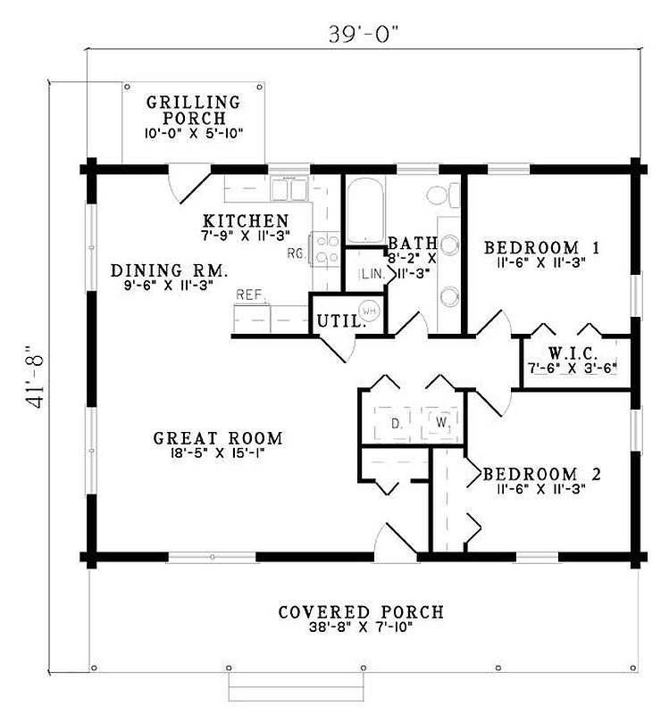 Best Plan 110 00919 2 Bedroom 1 Bath Log Home Plan With Pictures