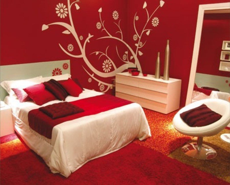Best Bedroom Decorating Ideas With Calm Red Paint Colours With Pictures
