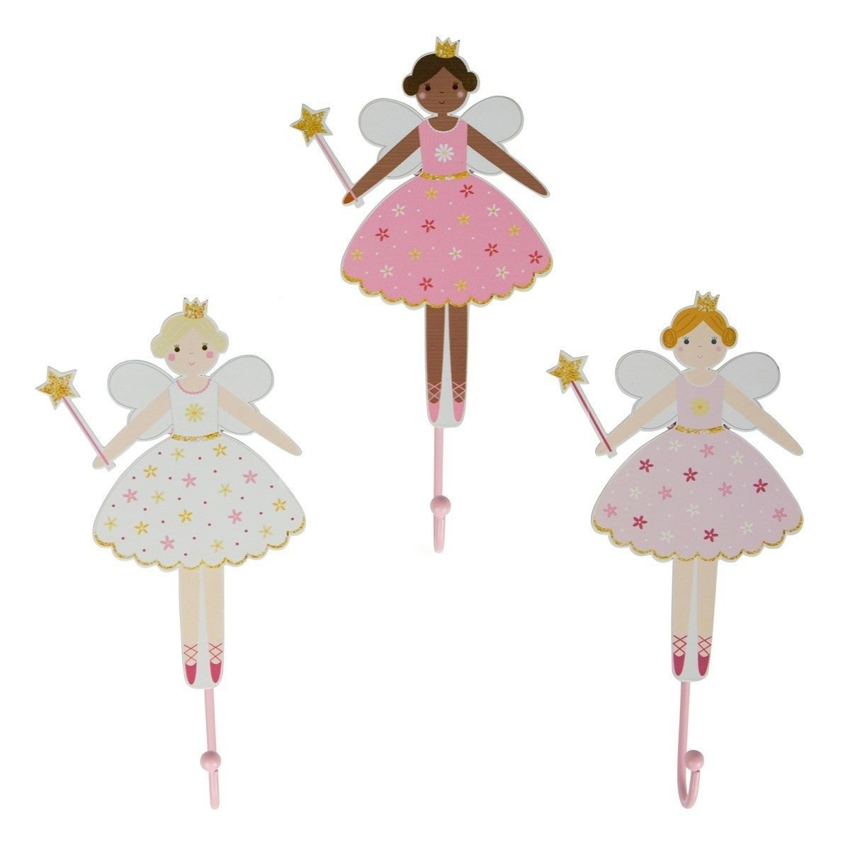 Best Set Of 3 Metal Magical Fairy Wall Door Hooks Pink Kids With Pictures