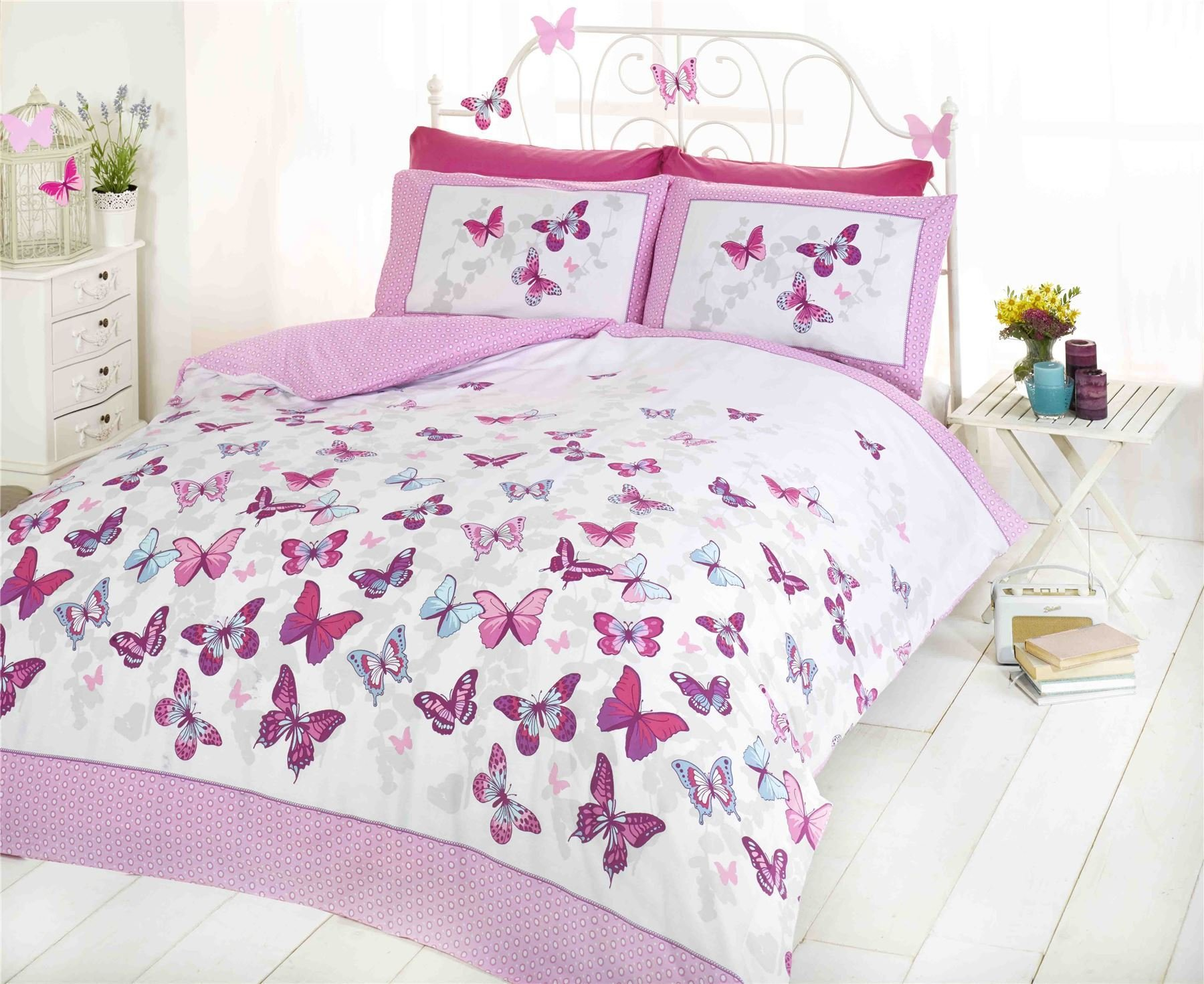 Best Flutter Butterfly Butterflies Pink Girls Childrens Bedding With Pictures