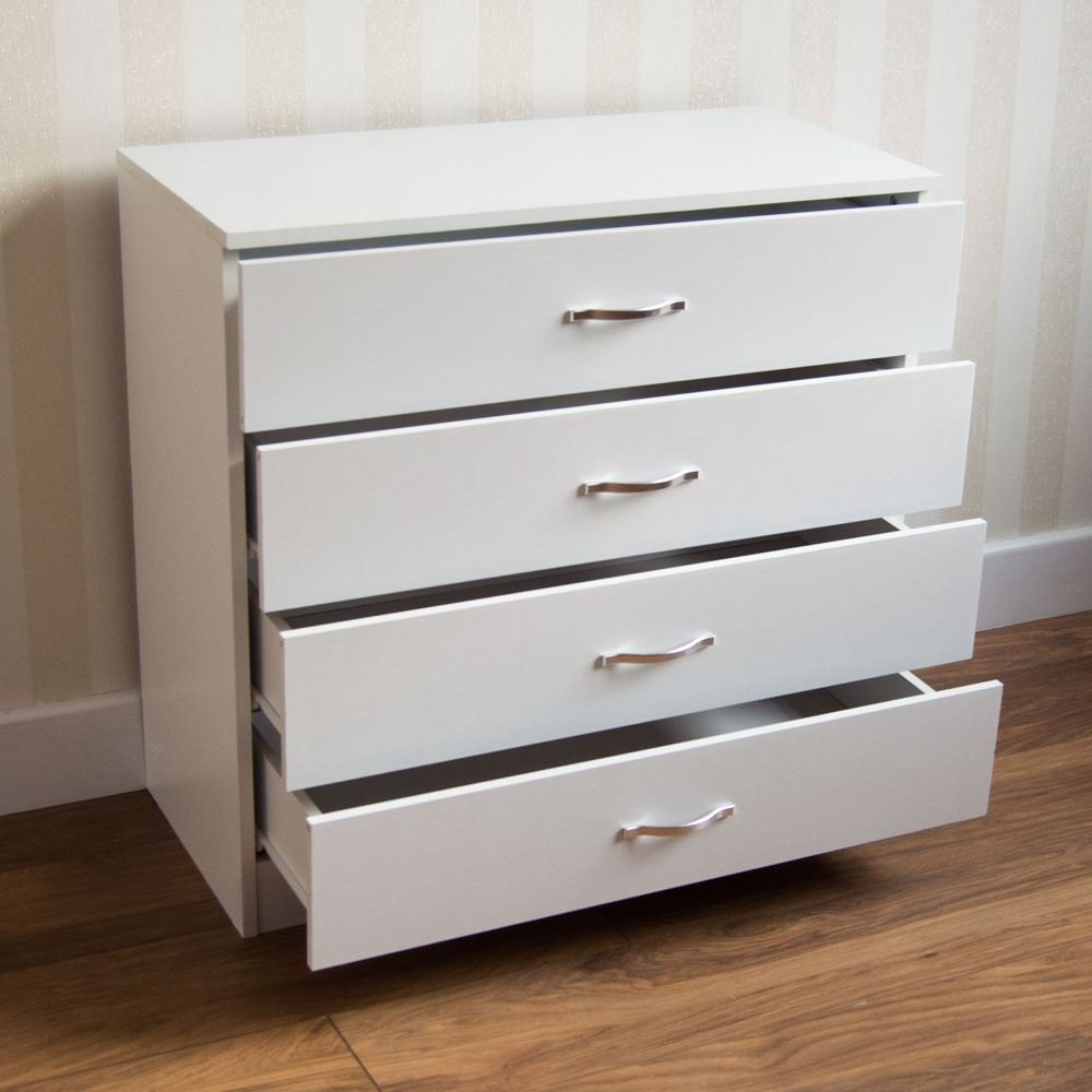 Best Riano Chest Of Drawers White 4 Drawer Metal Handles With Pictures