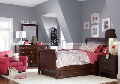 Best Ivy League Cherry 6 Pc Full Sleigh Bedroom T**N Bedroom Sets Dark Wood With Pictures