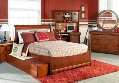 Best Oberon Dark Cherry 6 Pc Twin Sleigh Bedroom Bedroom Sets Dark Wood With Pictures