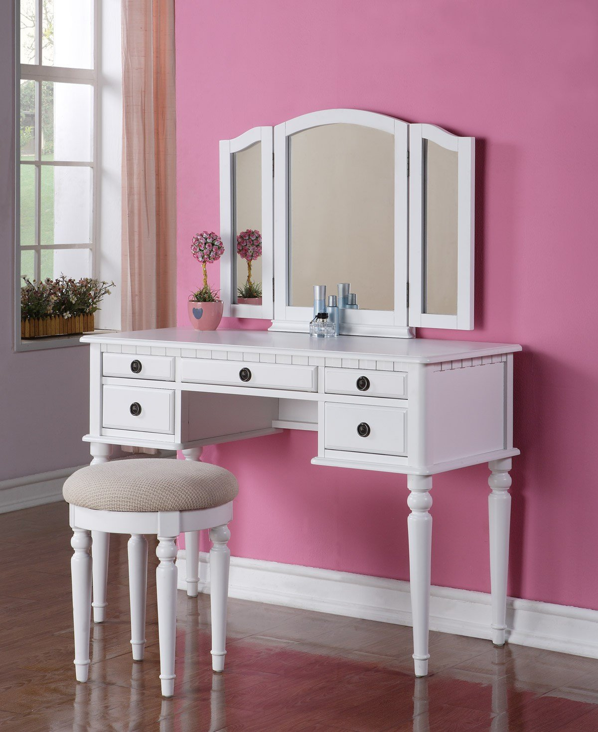 Best Beautiful 3 Pc Elegant White Finish Vanity Table Mirror Stool Makeup Set Ebay With Pictures