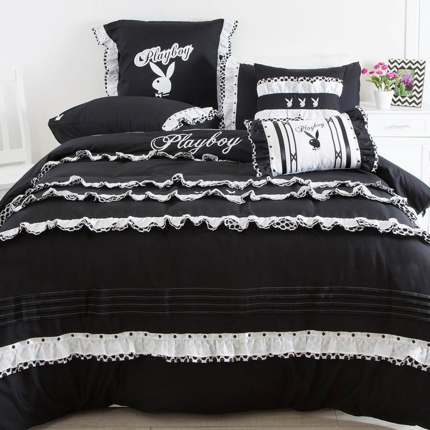 Best Pl*Yb*Y Bunny French Ruffles Black White King Bed Quilt With Pictures