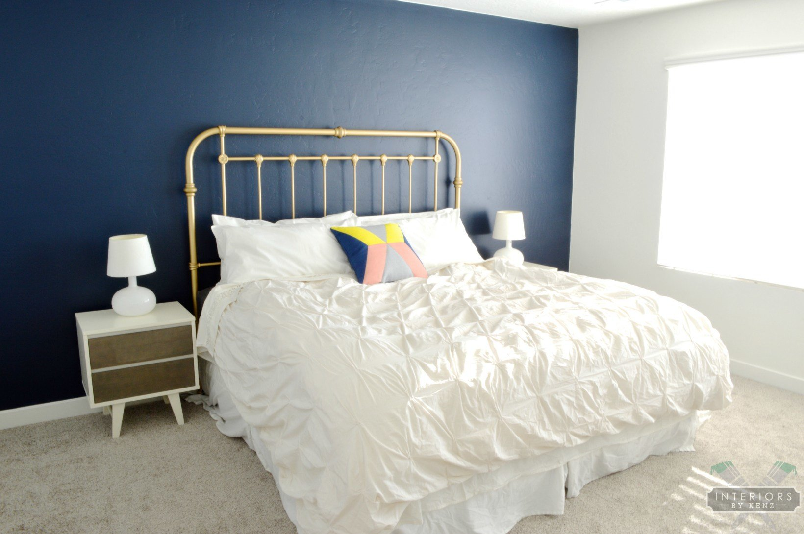 Best Navy Gold And White Master Bedroom Interiors By Kenz With Pictures