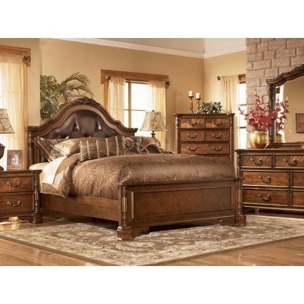 Best Ashley San Martin Elegant Wood W Leather King Bedroom Set With Pictures