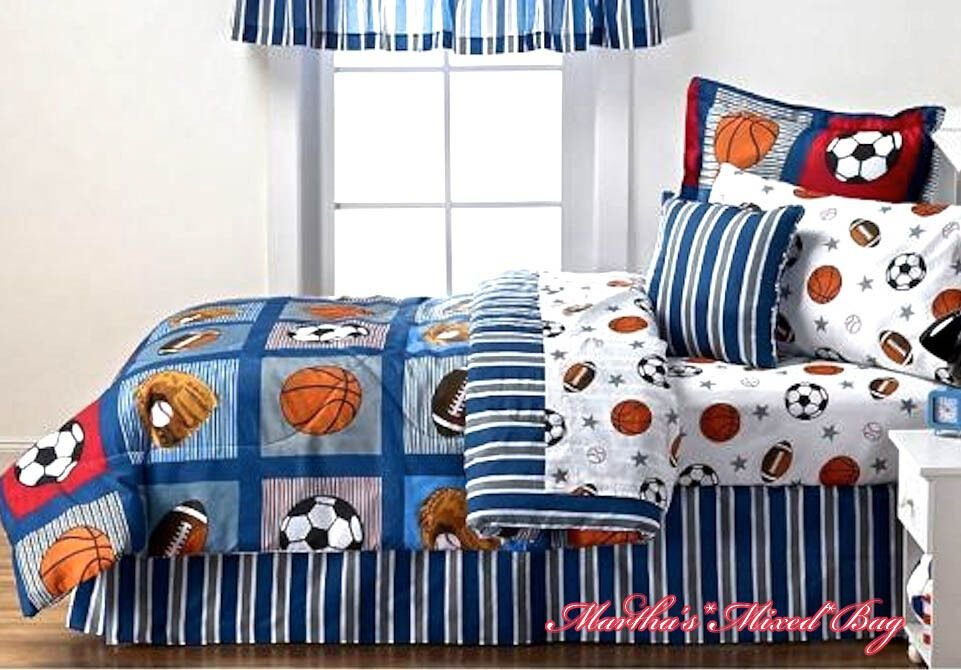 Best All Sports Boys Bedding Football Basketball Soccer B*Lls Baseball Comforter Set Ebay With Pictures