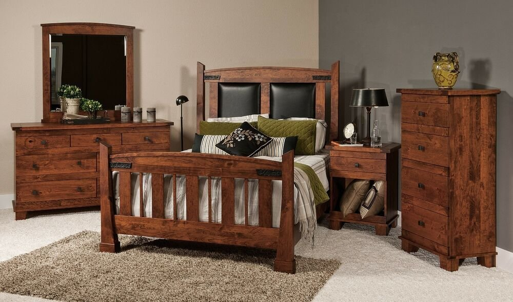 Best Luxury Amish Bedroom Set 5 Pc Mission Rustic Larado Solid With Pictures