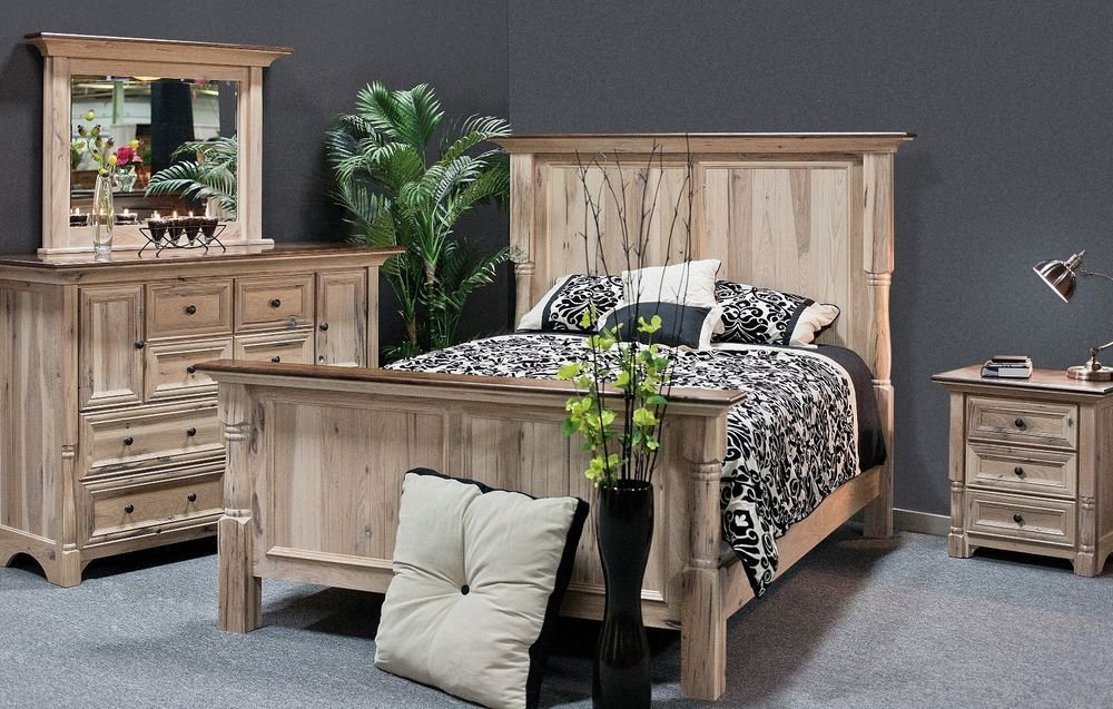 Best Luxury Amish Bedroom Set 4 Pc Rustic Palisade Solid Wood With Pictures