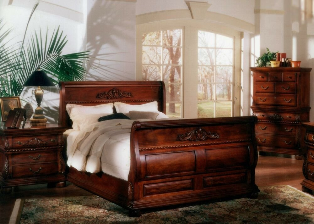 Best 5 Pc Queen Bed Hand Carved Solid Mahogany Wood Sleigh With Pictures