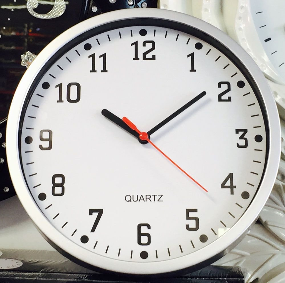 Best Silver Plastic Tick Wall Clock Bedroom Home Office Kitchen With Pictures