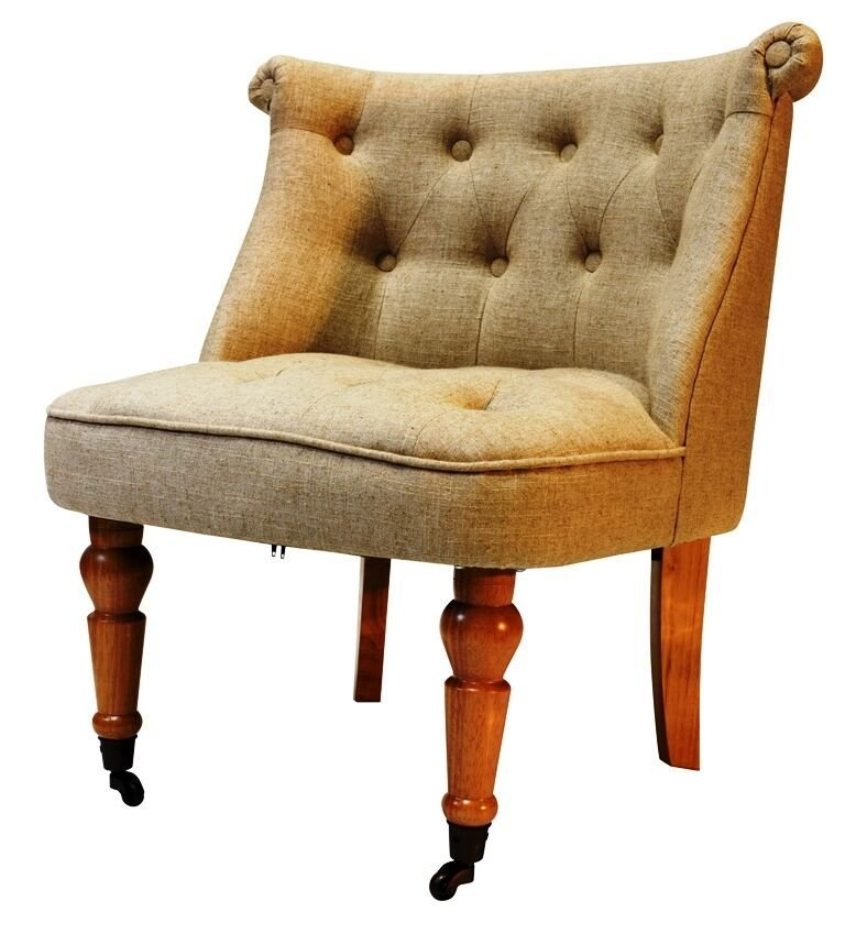 Best Accent Chair Button Back Bedroom Tub Chair Cream Linen With Oak Leg Only Ebay With Pictures
