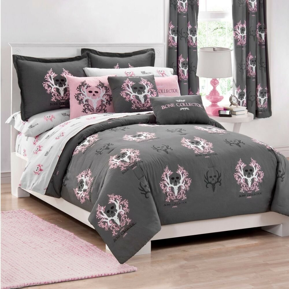 Best Girls Bone Collector Grey Pink Skull Bedding Full With Pictures