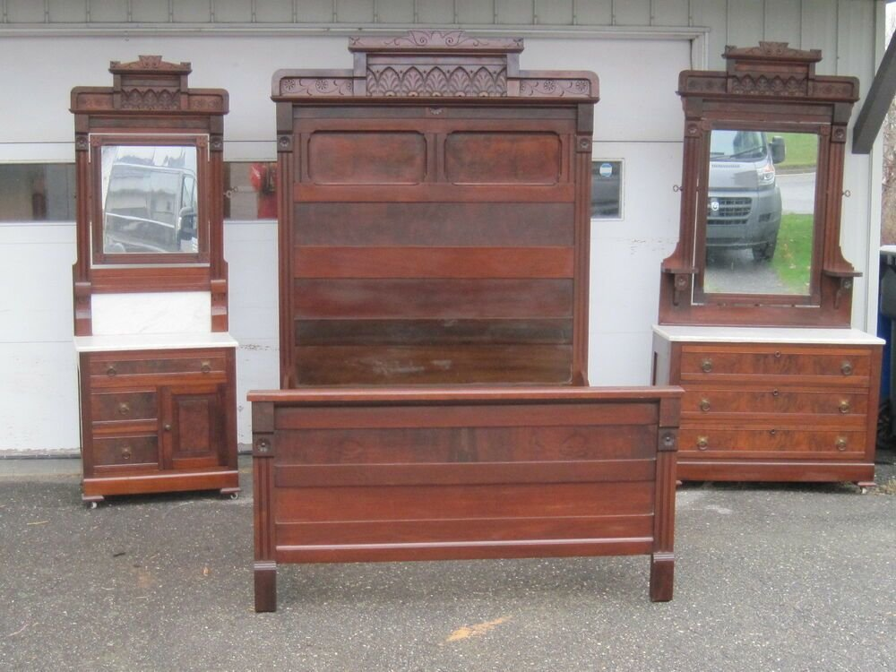 Best 3 Pieces Walnut Victorian Bedroom Set Original Finish With Pictures