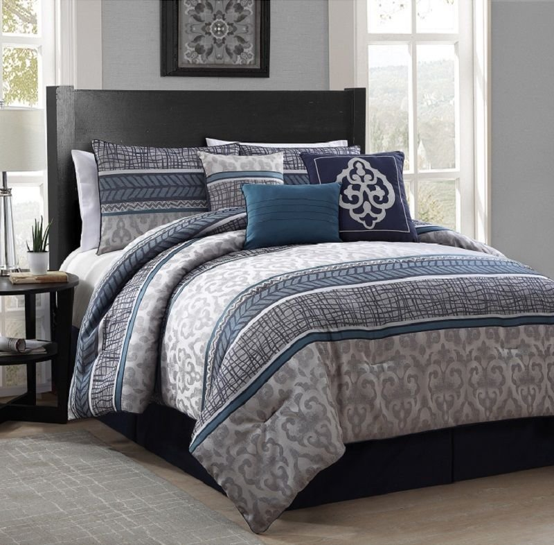 Best New Luxurious 7 Piece King Size Bed Comforter Set Bedroom Bedding Blue Gray Ebay With Pictures