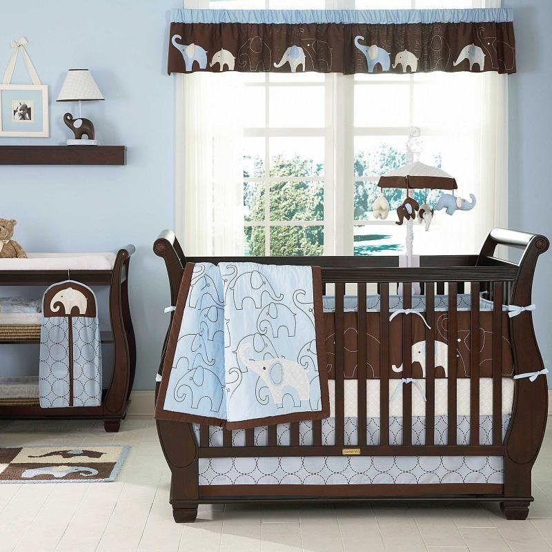 Best Blue Elephant Baby Boy 5Pc Animal Print Safari Discount With Pictures