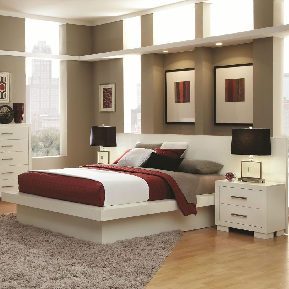 Best Cool Contemporary Lighted King Platform Bed Nightstands Bedroom Furniture Ebay With Pictures