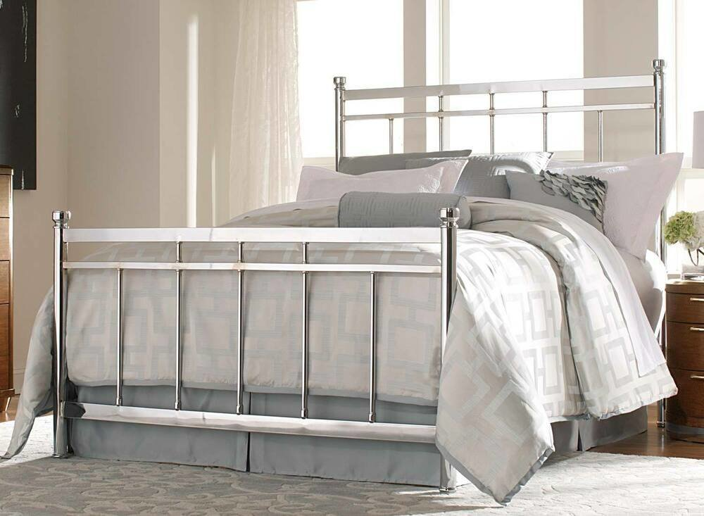 Best Chrome Metal Queen Bed Bedroom Furniture Ebay With Pictures