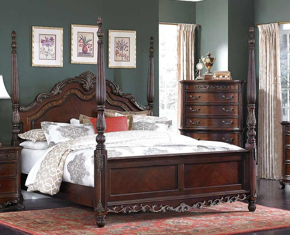 Best Beautiful Burl Inlay 4 Poster King Bed Bedroom Furniture Ebay With Pictures