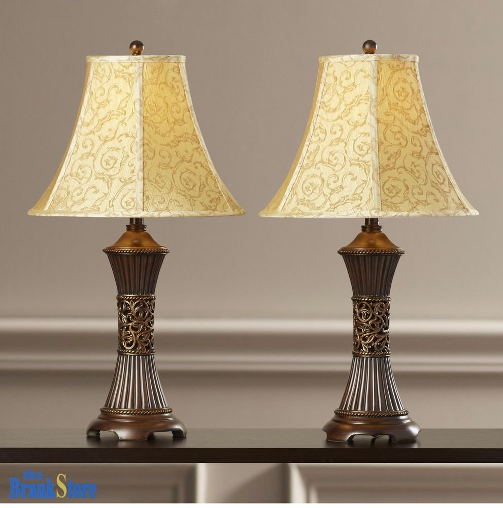 Best Table Lamp Set 2 Vintage Traditional Lamps Pair Shade With Pictures