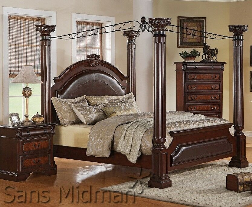Best Empire 3 Piece Bedroom Set King Size Canopy Poster Bed 1 Nightstand Chest New Ebay With Pictures