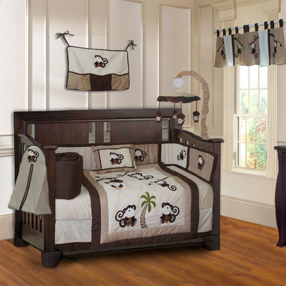 Best 10 Piece Monkey Boys Baby Crib Bedding Set Includes With Pictures