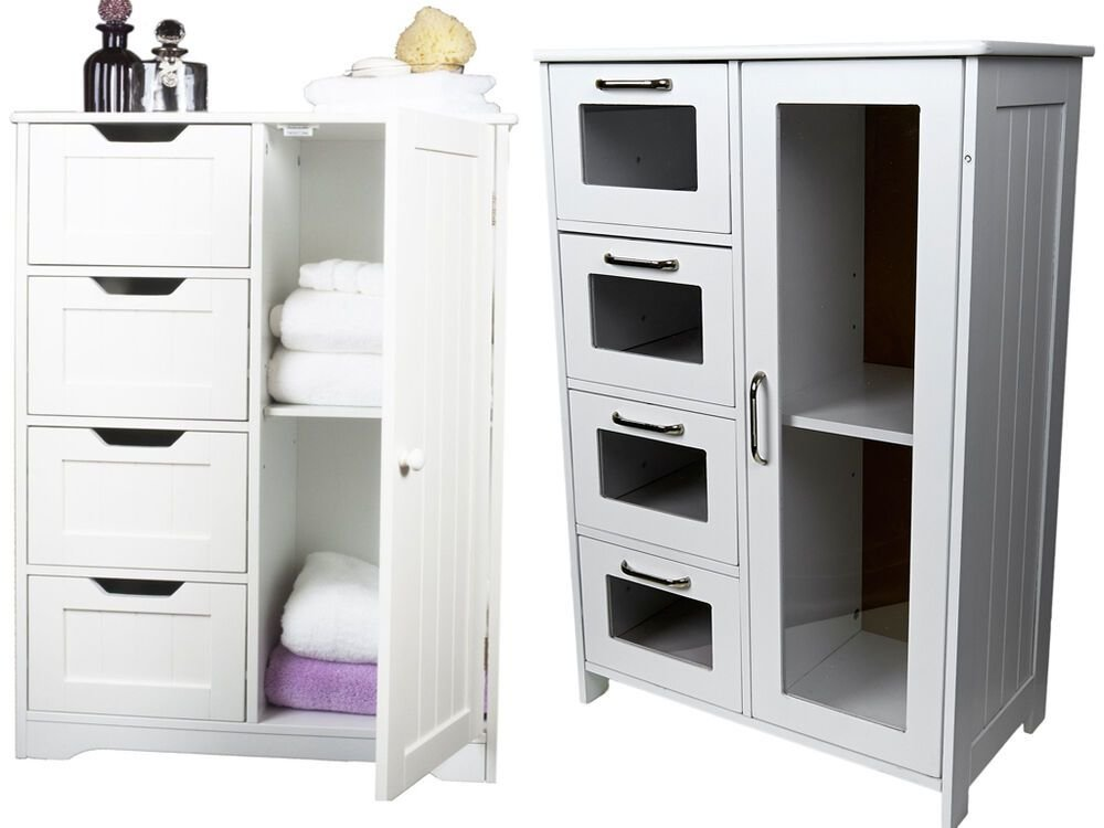 Best White Wooden Cabinet W 4 Drawers Glass Cupboard With Pictures